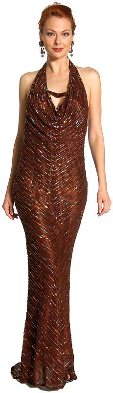Halter Neck Low Back Sequined Formal Dress