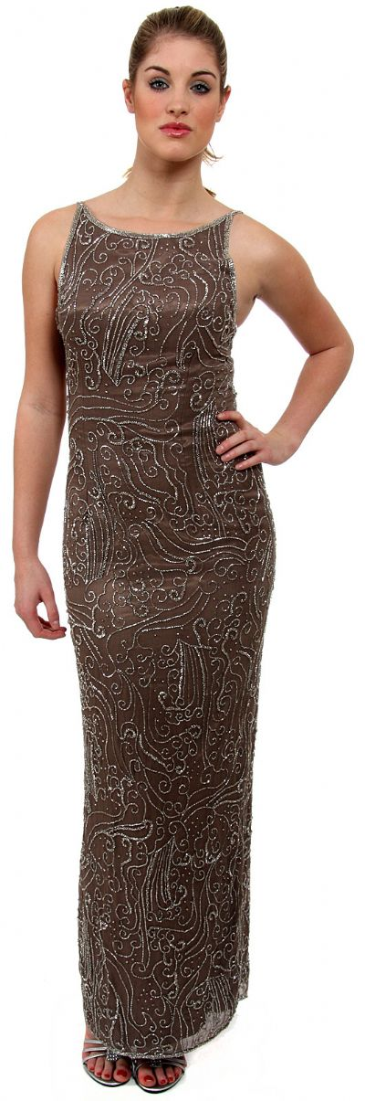 Boat Neck Long Formal Dress with Artistic Beaded Design