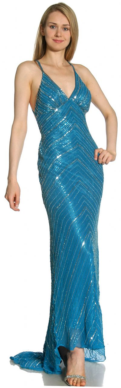 Crossed Bare Back Multi Beaded Formal Gown