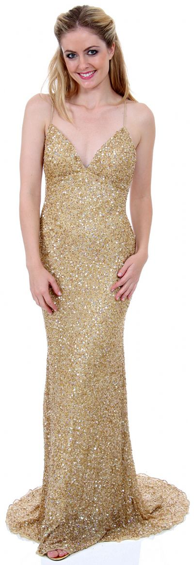 Criss-Crossed Sparkling Beaded Formal Prom Dress