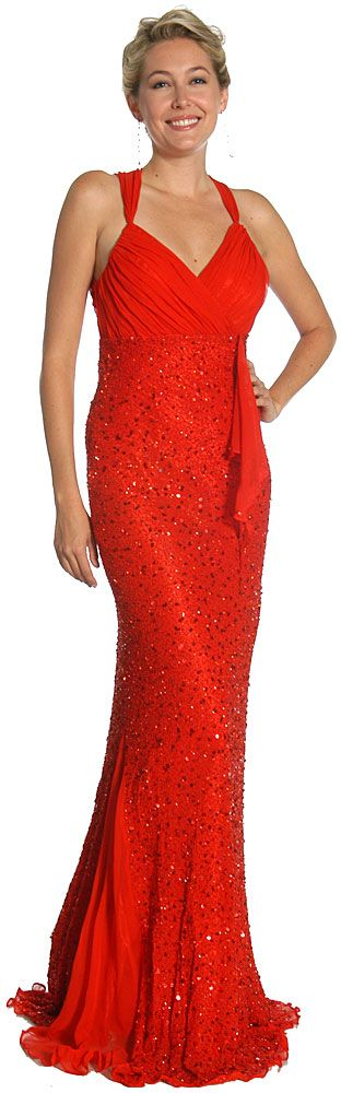 Wrap Style Shirred Bodice Formal Dress with Flared Bottom