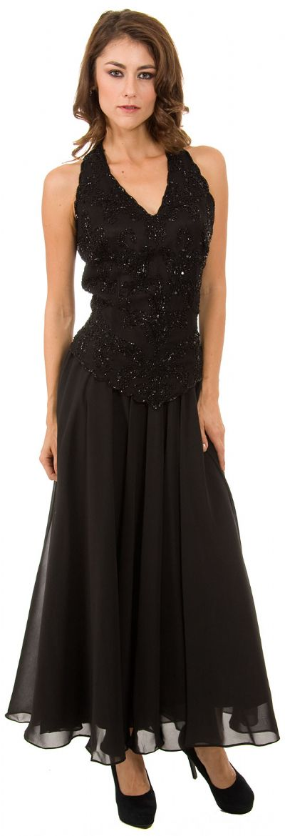 Long Formal Dress with Hand Beaded Top and Flared Skirt