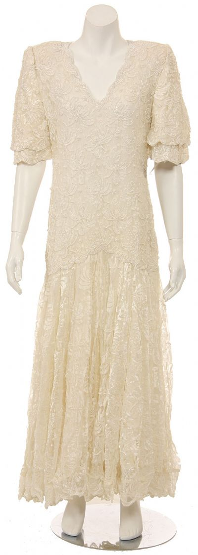 A-line Medium Length Lace Gown with Pearls Beadwork