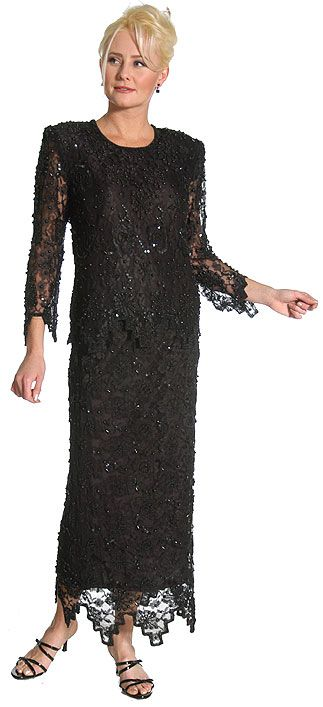 Laced and Beaded Two Piece Formal Dress
