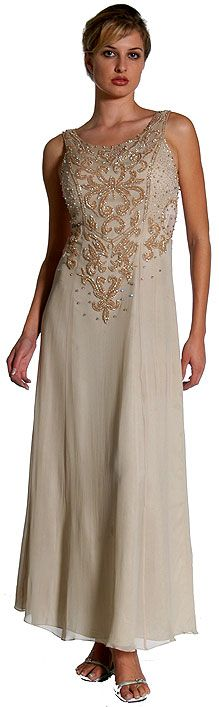 A-Line Beaded Sleeveless Formal Dress