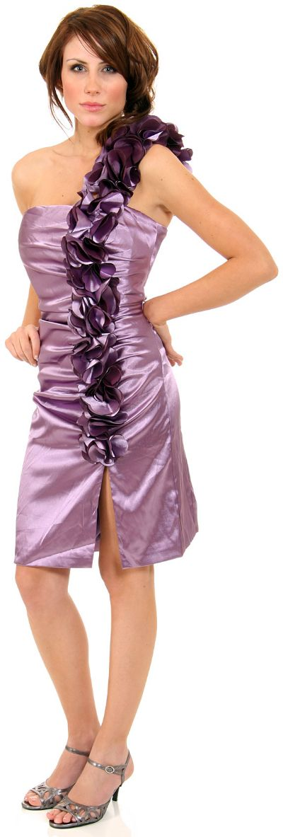 Glossy Short Party Dress With Shoulder Applique