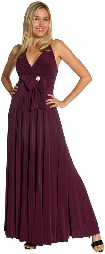 Halter Neck Empire Cut Formal Dress with Bow
