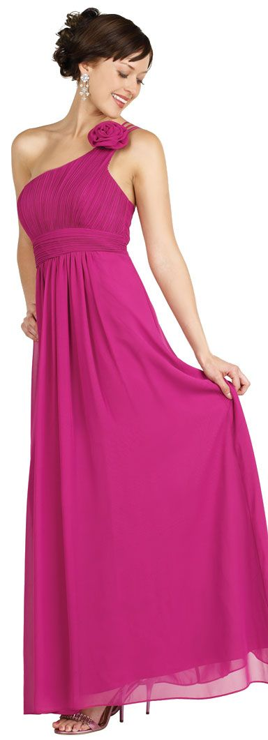 One Shoulder Floral Accent Pleated Formal Bridesmaid Dress