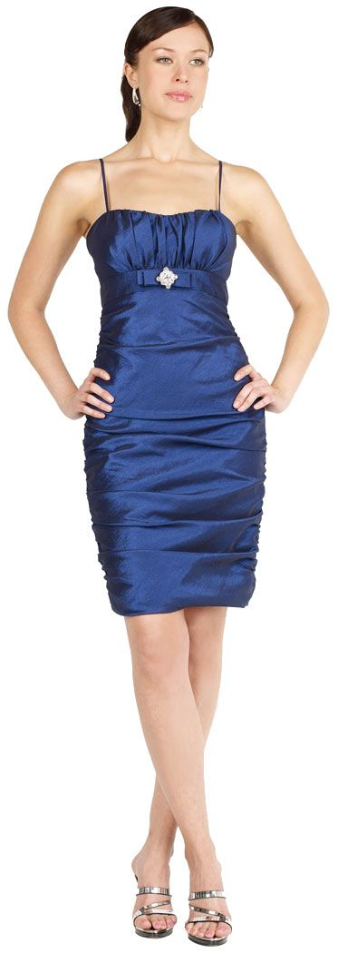 Spaghetti Straps Fitted & Shirred Short Party Dress