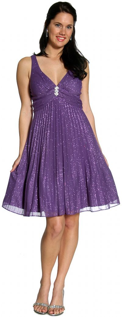 V-Neck Glittered & Pleated Formal Party Dress