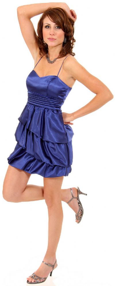 Pleated Waistline Party Dress with Cascading Ruffled Skirt