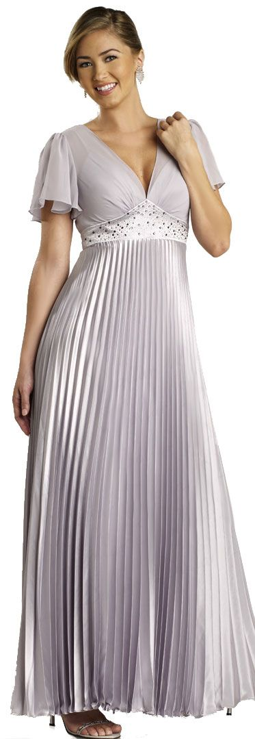 Half Sleeved Formal Evening Dress with Pleated Skirt