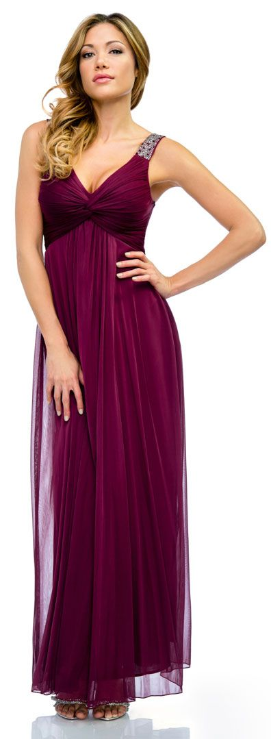 Ruched Twist Knot Bust Long Formal Evening Dress