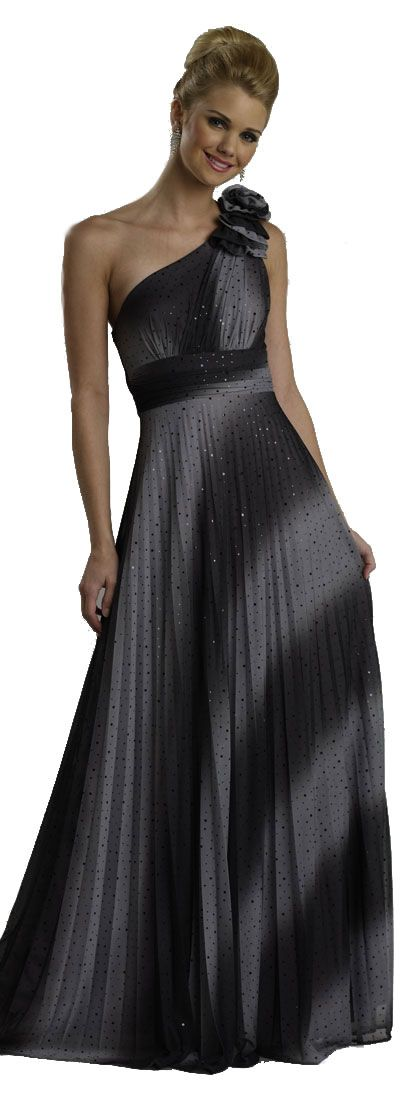 Two-tone Single Shoulder Shimmering Formal Evening Dress