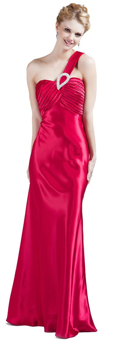 Single Shouldere Pleated Bodice Formal Evening Gown