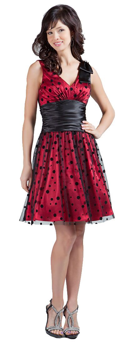 V-neck Short Polka Dot Party Dress