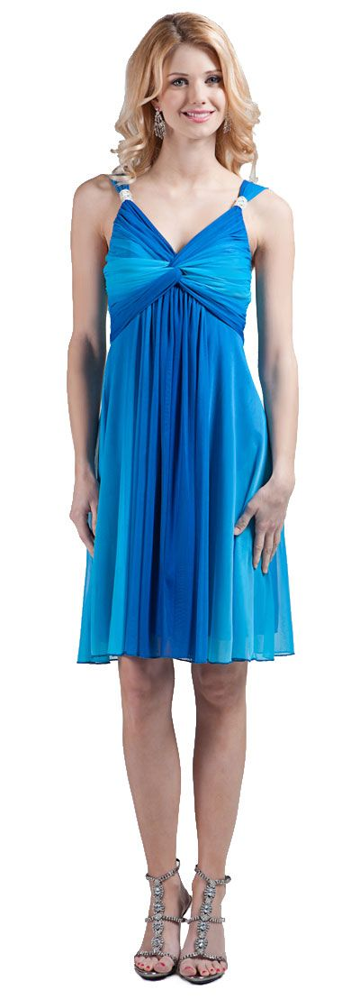 Twist  Knot Bust Ombre Short Party Dress
