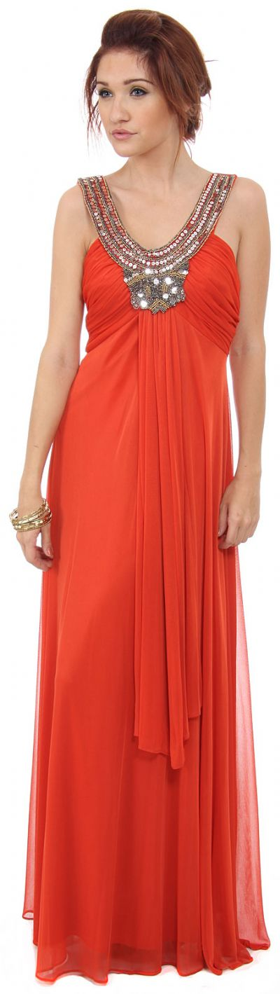 Mayan Inspired Embellished Neck Long Formal Dress