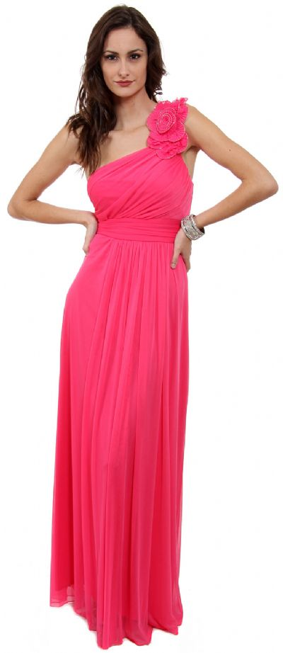 Single Floral Applique Shoulder Long Formal Dress