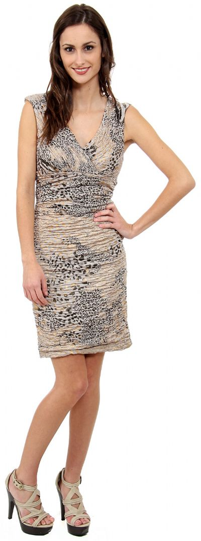 Metallic Animal Print Short Dress
