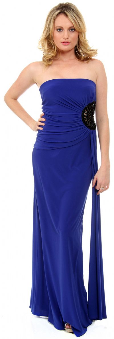 Strapless Ruched Cutout Detail Long Homecoming Dress