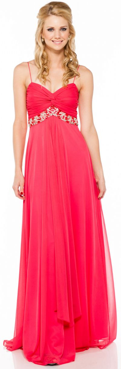 Bejeweled Empire Waist Long Formal Bridesmaid Dress