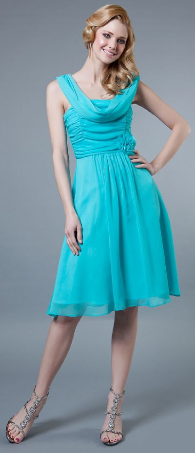 Short Dress with Ruching Bodice