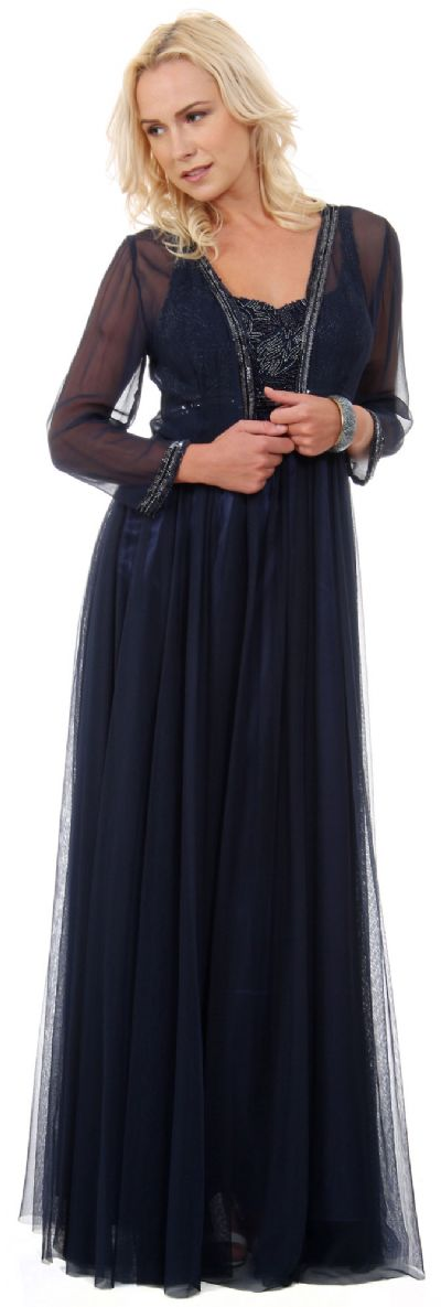 Plus Size Full Length Formal MOB Evening Gown with Jacket