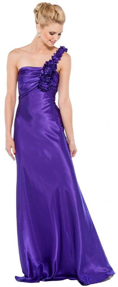 Floral One Shoulder Full Length Formal Bridesmaid Dress