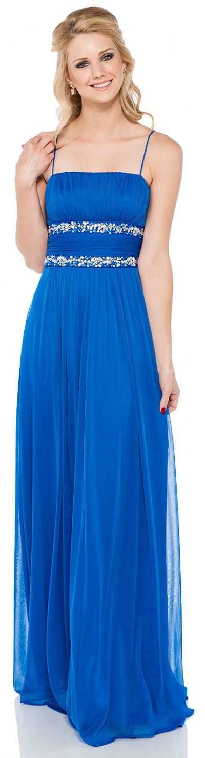 Bejeweled Waist Spaghetti Straps Formal Bridesmaid Dress