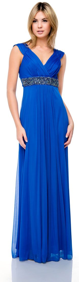 Cap Sleeve Long Formal Dress with Beaded Waist