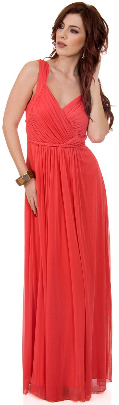 Braid Accent Ruched Long Formal Bridesmaid Dress