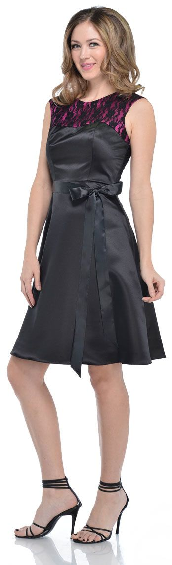 Satin & Lace Short Dress with Detachable belt