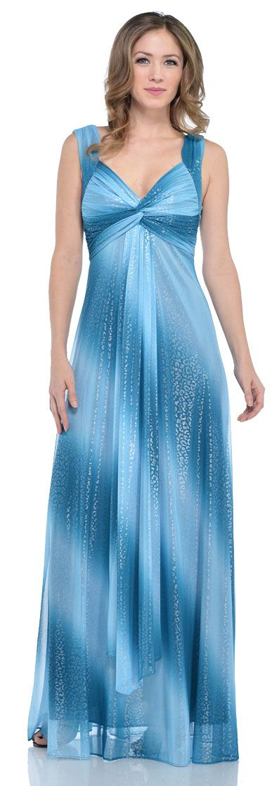 Long Formal Ombre Dress with Metallic Animal Foiling
