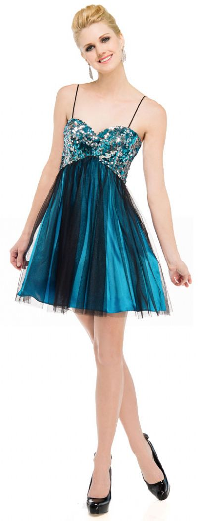 Sequined Spaghetti Strapped Mini Prom Dress