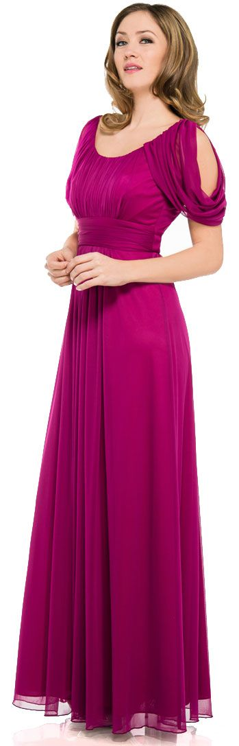 U-Neck Empire Cut Long Formal Dress With Hanging Sleeves