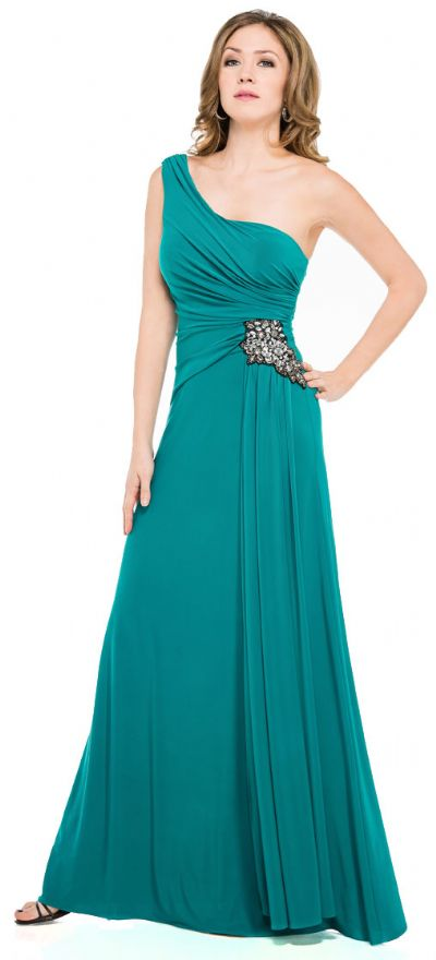 One Shoulder Jersey Long Formal Dress with Sash on side