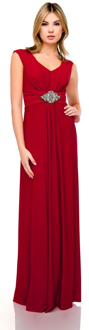 V-Neck Cap Sleeves Empire Cut Long Formal Dress