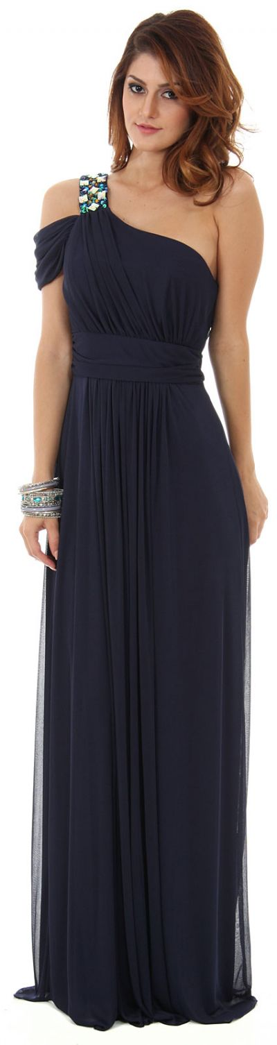 One Shoulder Long Formal Dress with Bejeweled Strap