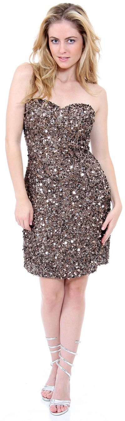 Strapless Heart-Shaped Formal Sequined Dress