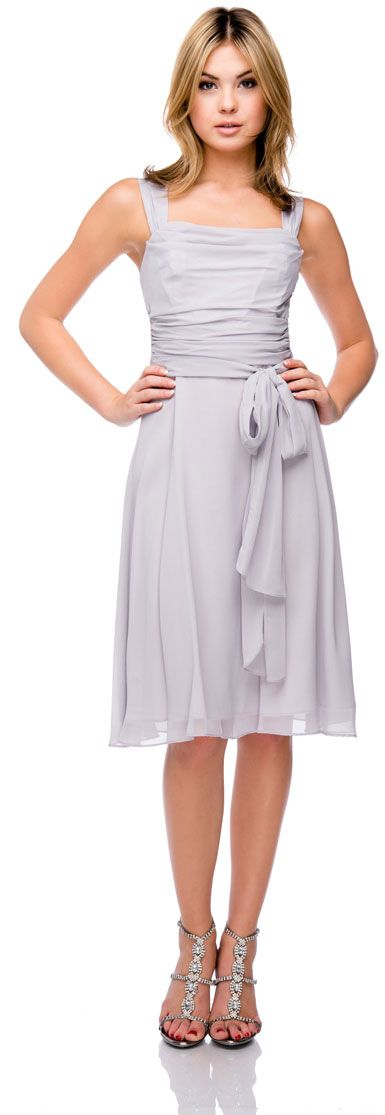 Cowl Neck Knee Length Bridesmaid Party Dress