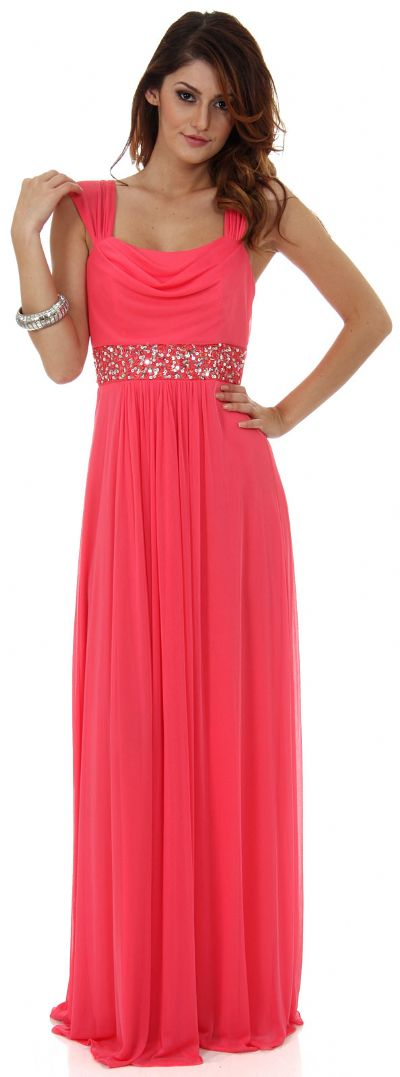Empire Cut Long Formal Dress with Cap Sleeves