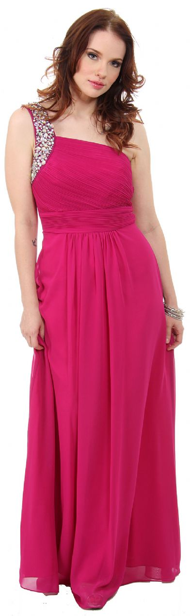 Bejeweled One Shoulder Long Formal Bridesmaid Dress
