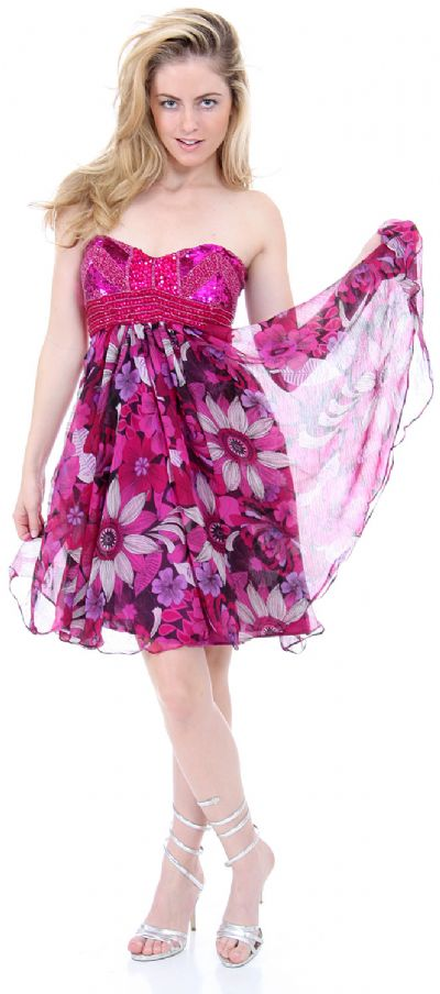 Strapless Floral Print Short Homecoming Party Dress