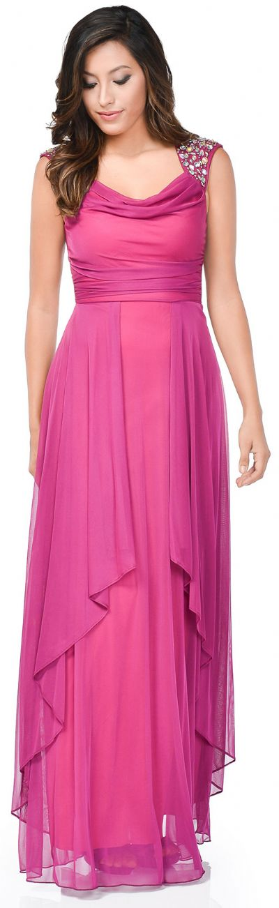Broad Straps Cowl Neck Long Formal Dress with Draped Skirt
