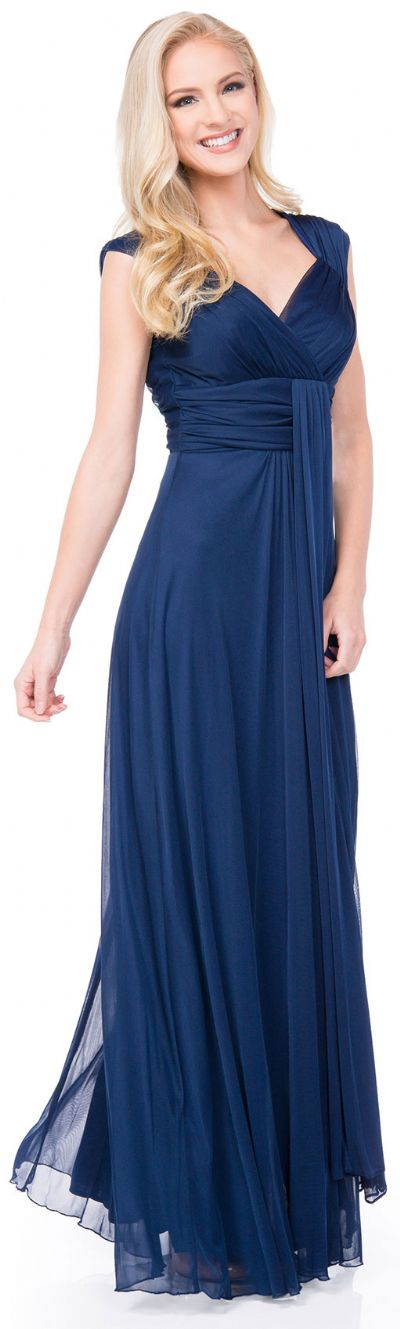 V-Neck Long Formal Dress with Cap Sleeves & Front Slit