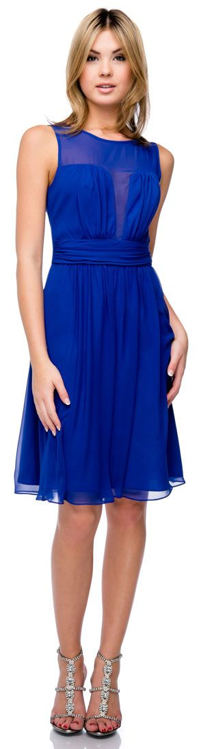 Semi Sheer Top Chiffon Short Party Bridesmaid Dress