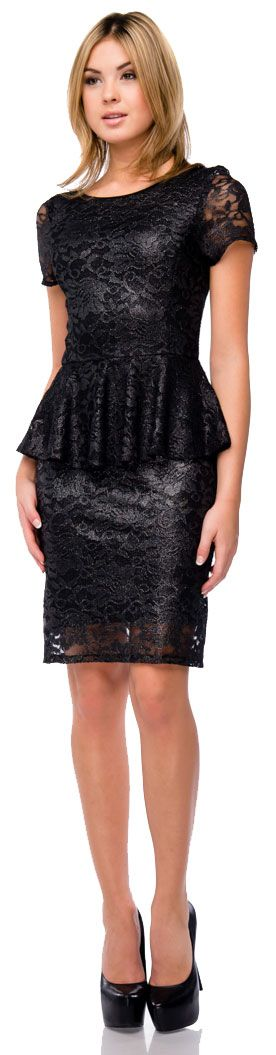 Metallic Lace Peplum Top Fitted Short Cocktail Party Dress