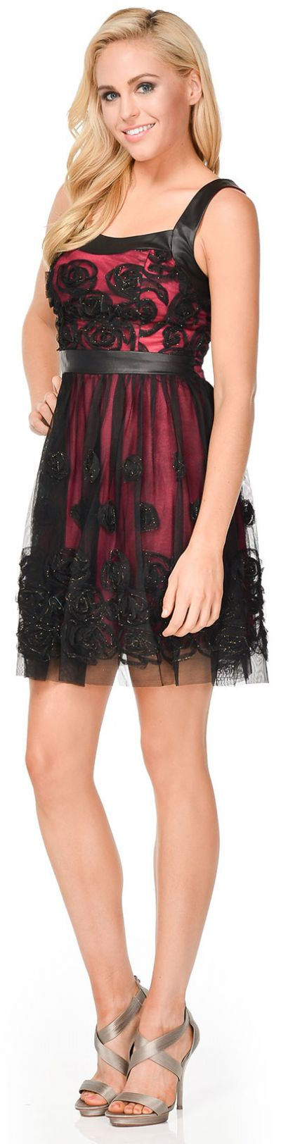 Rosette Pattern Short Formal Party Dress in Mesh