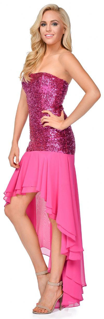 Strapless Sequins Bodice High Low Formal Evening Party Dress